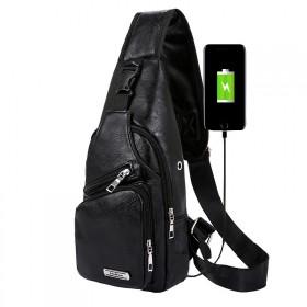 Jinman taška cez hruď a crossbody s USB Čierna
