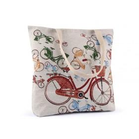 Ľanová nákupná alebo plážová taška Retro bicykel