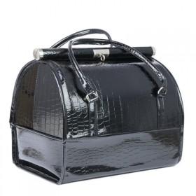 Luxusný kozmetický kufrík MODEL12 Čierny krokodíl