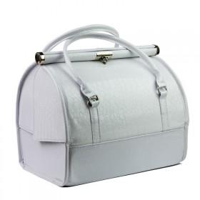 Luxusný kozmetický kufrík MODEL12 Biely krokodíl
