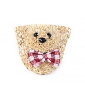 Detská slamená kabelka Teddy bear
