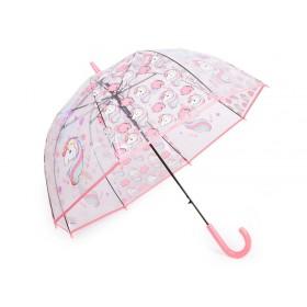 Dievčenský priehľadný vystreľovací dáždnik Jednorožec
