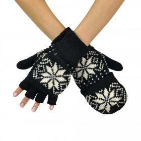 Bezprstové rukavice s chlopňou Wales Čierne
