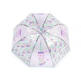 Dievčenský priehľadný vystreľovací dáždnik jednorožec Mint