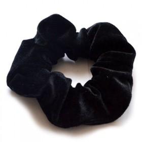 Zamatová gumička do vlasov Čierna