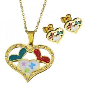 Sada šperkov z ocele Farebné srdiečka Zlatá