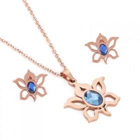 Sada šperkov z ocele slniečko s kryštálom Ružový