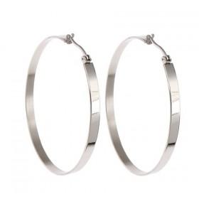 Oceľové náušnice kruhy 60 mm Loma Strieborné
