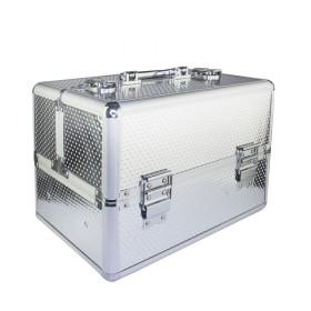 Kozmetický kufrík pre laky aj LED lampu Strieborný