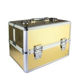 Kozmetický kufrík pre laky aj LED lampu Zlatý