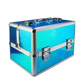 Kozmetický kufrík pre laky aj LED lampu Modrý
