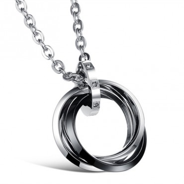 Náhrdelník z nerezovej ocele Krúžky sa zirkónmi Black Rings