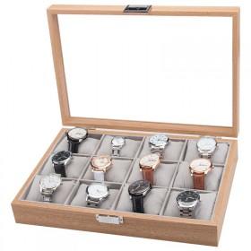 Box na hodinky 12 komôr drevený Hnedý