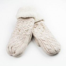 Dámske palčiaky rukavice s perlami Béžové