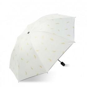 Dámsky Biely skladací dáždnik Zlaté lístky