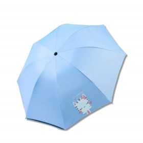 Dievčenský skladací dáždnik Modrý mačička