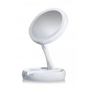 Skladacie obojstranné LED zrkadlo Biele