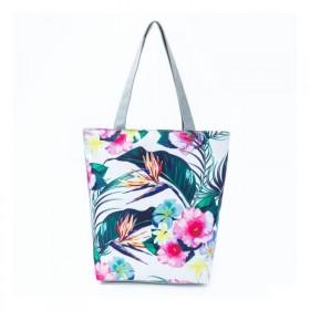 Plážová aj nákupná taška Palmy s kvetmi