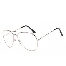 Nedioptrické okuliare pilotky-Aviator Strieborné