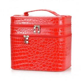 BMD kozmetický kufrík 3 vrstvový Červený krokodíl