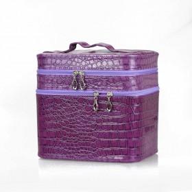 BMD kozmetický kufrík 3 vrstvový Fialový krokodíl