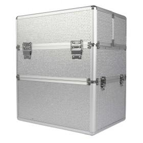 COMFORT dvojposchodový kozmetický kufor sa zirkónmi Strieborný
