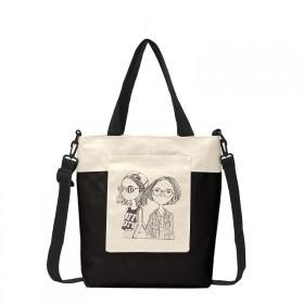 Dámska plátená kabelka Fashion Nerds Čierno-biela