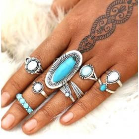 Sada Bohém prsteňov 8ks Blue Antique Holo