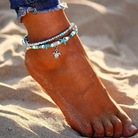 Dámsky Set náramkov na nohu s korálkami Korytnačka