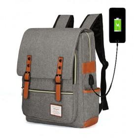 RETRO Textilná batoh s USB portom Šedý