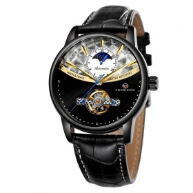 FORSINING pánske automatické hodinky Moonlight 9M3B1 Čierne