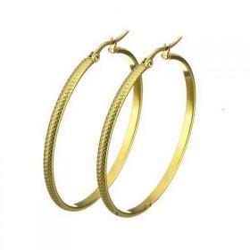 Oceľové náušnice kruhy 30-35 mm Snake zlaté