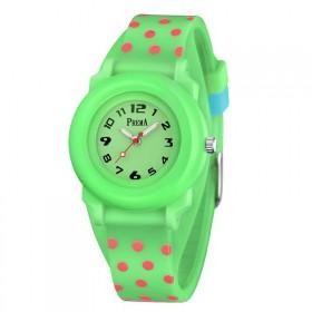 Prema dievčenské silikónové hodinky Polka Dots Zelené