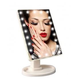 Skladacie otočné zrkadlo s 22 LED Biele