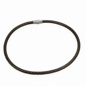 Kožený splietaný náhrdelník 6mm Hnedý