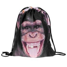 Plátený vak s 3D potlačou Šimpanz