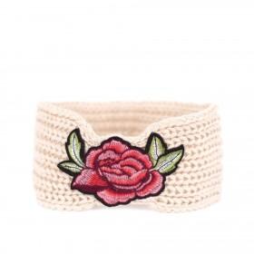 Dámska pletená čelenka Flowers Béžová