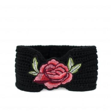Dámska pletená čelenka Flowers Čierna