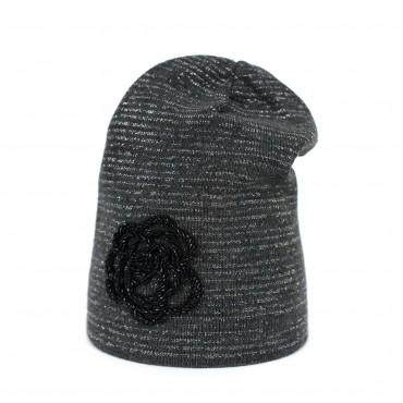 Dámska pletená čiapka Zimná blesk Grafitová