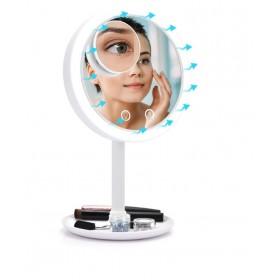 Kozmetické zväčšovacie zrkadlo s ventilátorom Biele