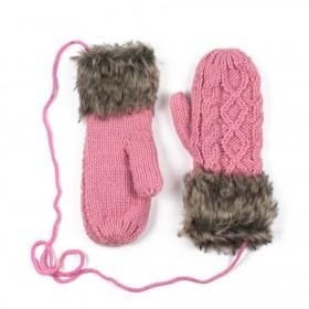 Dámske palčiaky rukavice s kožušinkou Ružové