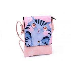 Dievčenské malá kabelka s chlopňou Púdrová mačka