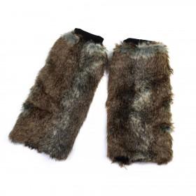 Kožušinové návleky na topánky Yeti state 40cm Hnedé