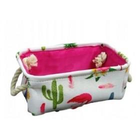Plátený box na hračky Plameniaky kaktus S
