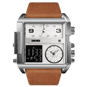 SKMEI 1391 duálne hodinky 3 times Silver Hnedé