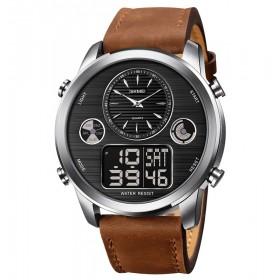 SKMEI 1653 duálne hodinky Big Face Stříbný Hnedé