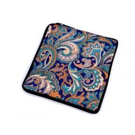Pevná skladacia nákupná taška so zipsom Modrá paisley