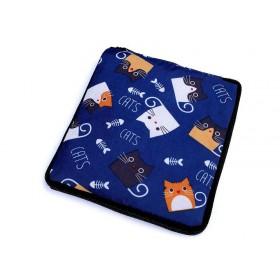 Pevná skladacia nákupná taška so zipsom Modrá mačka