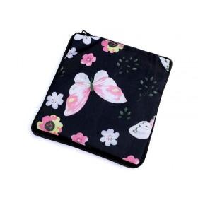 Pevná skladacia nákupná taška so zipsom Čierny motýľ