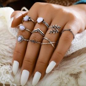 Sada Bohém prsteňov 9ks Holo infinity strieborné